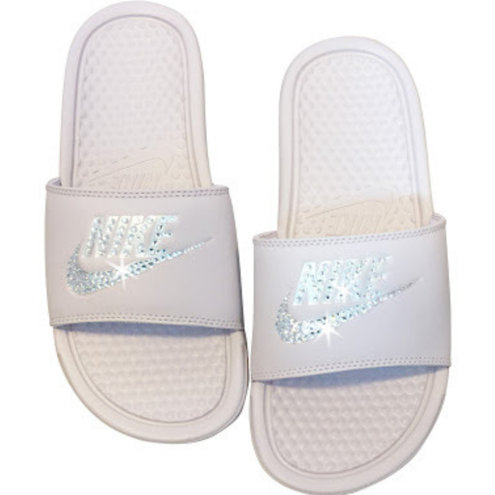 check out 8765a f3b78 Details about Custom Nike Slides Rose Color Nike Sandals Bedazzled Glitter  Nike JDI Sandals