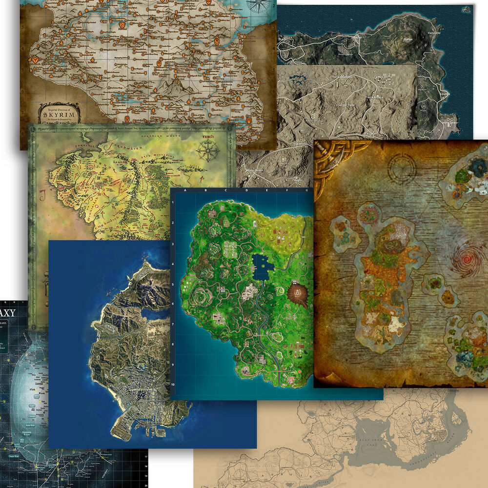 HD Virtual Map Posters Fiction Maps Game Maps Silk Cloth Map Print on