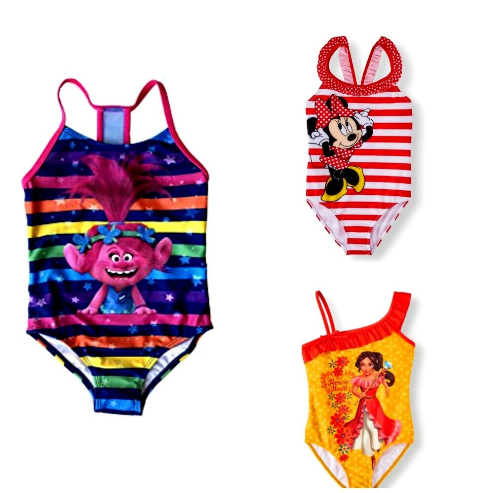 74af5c863d Details about Girls' One-Piece Swimsuit Disney Minnie Mouse Elena of Avalor  Trolls NWT