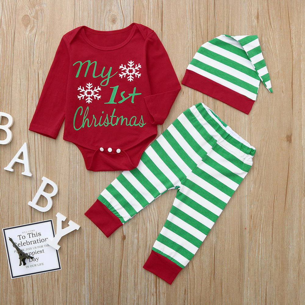 c5eac8ba89 Details about Christmas Toddler Infant Baby Boy Girl Romper Tops+Striped  Pants+Hat Outfits Set