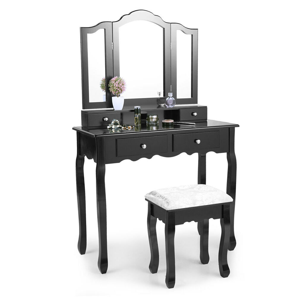 Makeup Vanity Table Set Dressing Table Mirror 4 Drawers Bedroom ...