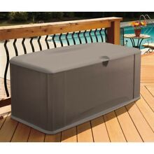 Deck Box Storage Outdoor with Seat 120 Gal. Resin Pool Chemicals Toys Hose Yard