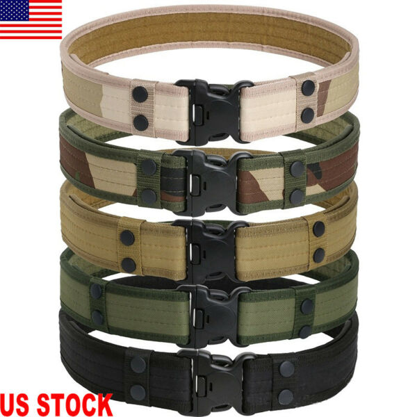 Army Camo JC Military Combat Tactical Belt Quick Release Men Waistband Outdoor
