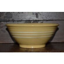 Vintage Primitive Antique Stoneware Yellow Ware Bowl with 3 white bands 6