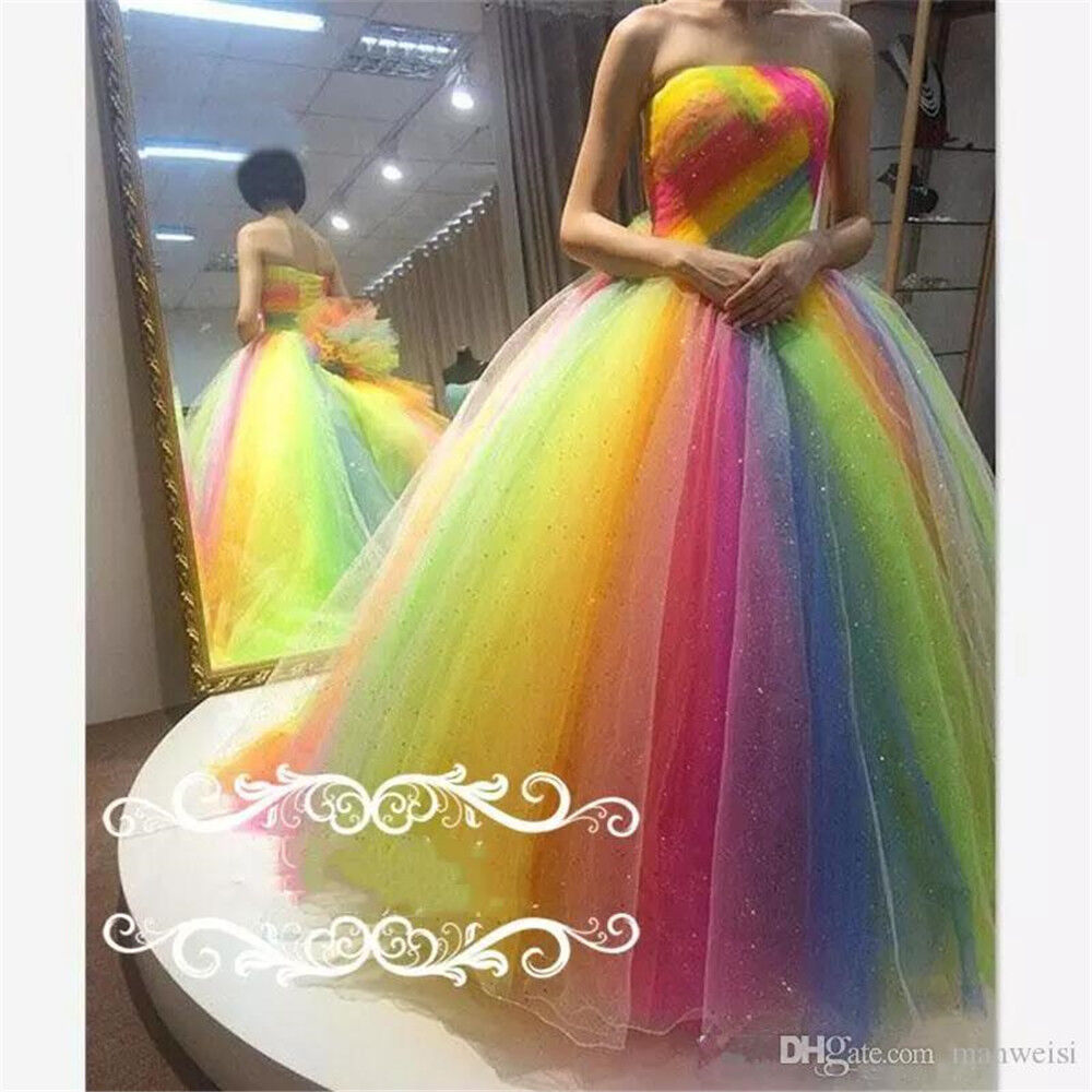 2a373a5a62b Details about Rainbow Colored Strapless Prom Party Dresses Crystal Beaded  Pageant Ball Gowns