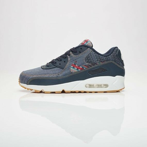 newest ceb87 0228c Details about Nike Air Max 90 Premium Afro Punk Denim Shoes Dark Obsidian  700155-402 Size 7.5