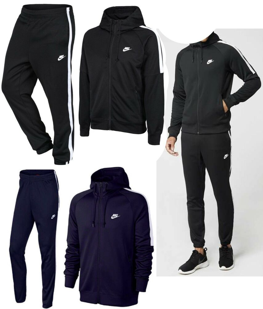 428f8e07a418 Details about Nike TRIBUTE Full Polyester Tracksuit Zip Hoodie Jogging  Bottoms Joggers New