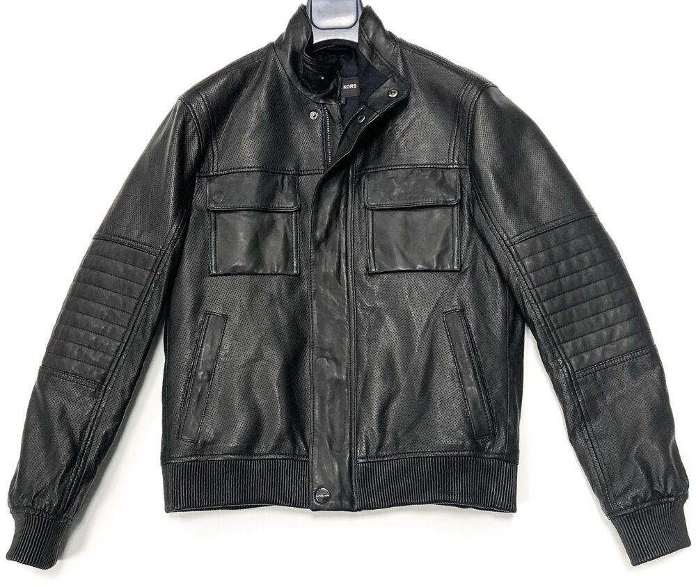 c548a2a4798a Michael Kors Leather Bomber Jacket Men s In Black Size Small