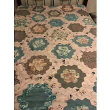 ANTIQUE QUEEN SIZE QUILT TOP HAND STITCHED GOOD CONDITION PINK & TEAL HEXAGON