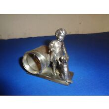 ANTIQUE VICTORIAN FIGURAL MERIDEN B Co. GREENWAY GIRL WITH DOG SP NAPKIN RING