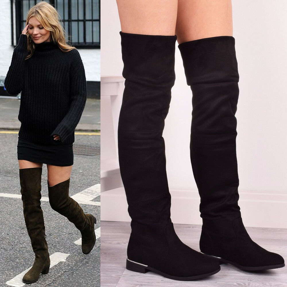 e93594f9e9d Details about Ladies Womens Winter Thigh High Over The Knee Flat Casual  Walking Fashion Boots
