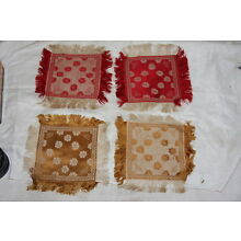 Vintage Wool Blend & Rayon Damask Coasters  2 Gold & Cream & 2 Red & Cream set 4