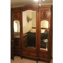 Antique 7'x5' Armoire Country French oak carved beveled glass doors dresser