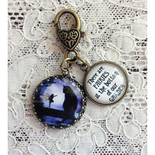 FAIRY AND CAT IN NIGHT GARDEN Glass Dome Charm Filigree 1