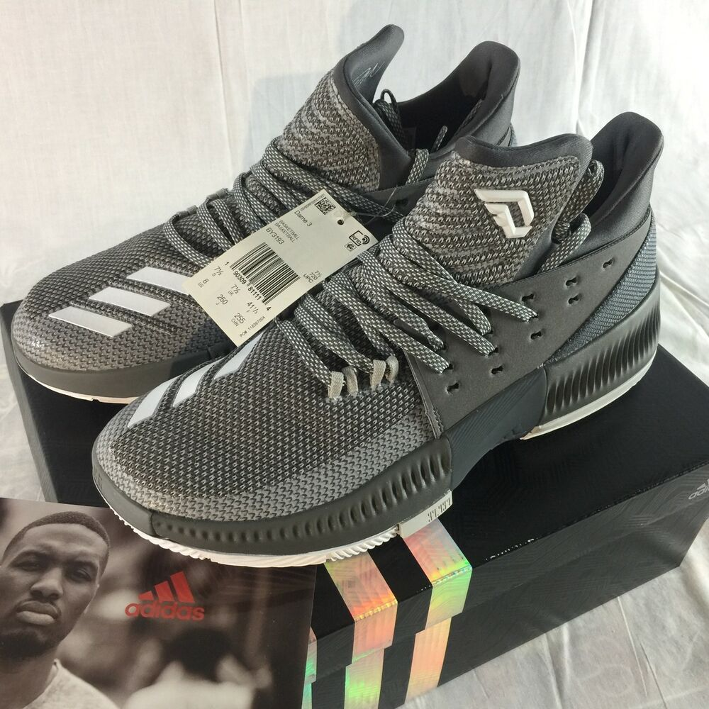 huge discount b89eb 5ea09 Details about NEW Adidas Dame 3 Mens Size 8 Damian Lillard Basketball Shoes  Grey White