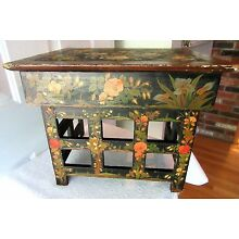 RARE ANTIQUE TIBETAN KANG TABLE HAND PAINTED FLORAL TEA FOLDING ALTAR PRIMITIVE