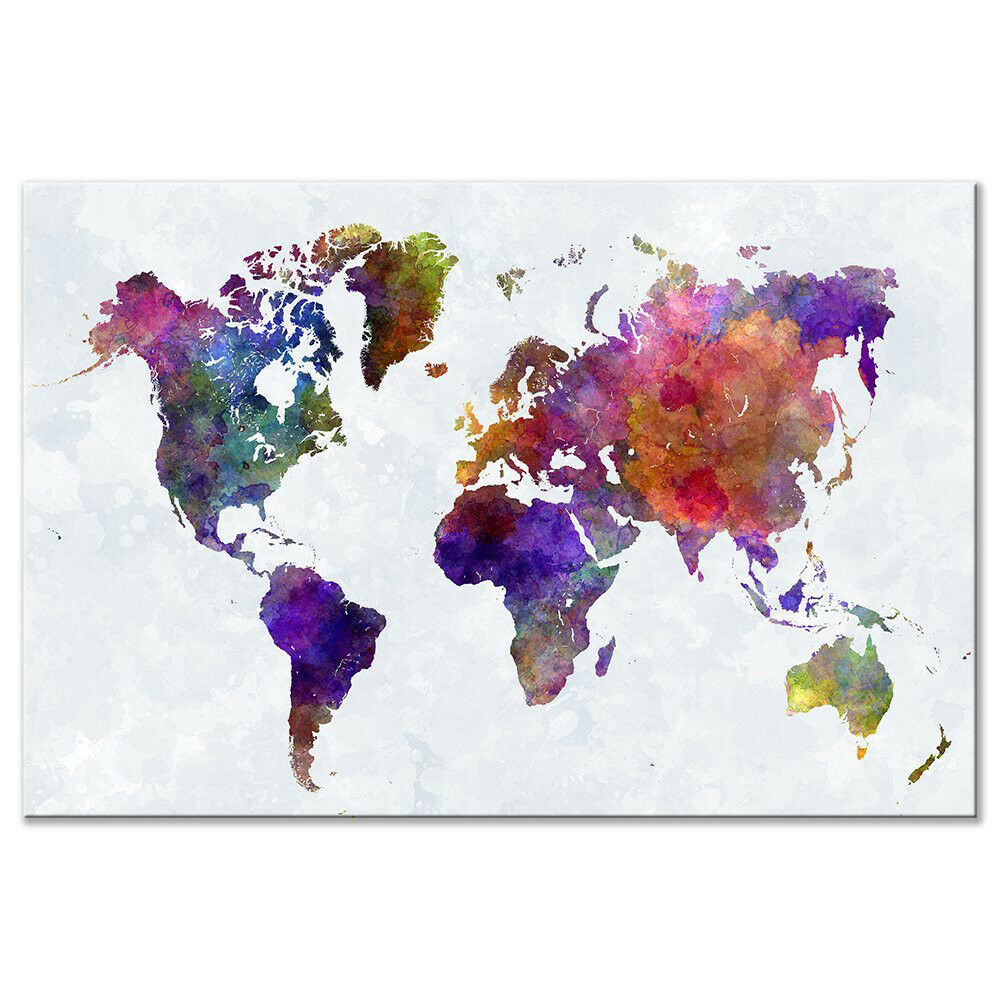 Color World Map Wall Poster Wall Art Framed Home Decor Canvas