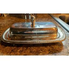 Antique Vintage WM Rogers & Sons Silver-Plated Teardrop Butter Dish