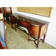 1920's LOUIS XVI FRENCH STYLE DINING TABLE CHAIRS SERVER HUTCH BUFFET W/ MARBLE