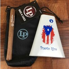 Hand Held Cowbell 5d2 With Puerto Rico Flag Design, LP Cowbell Pouch And Beater