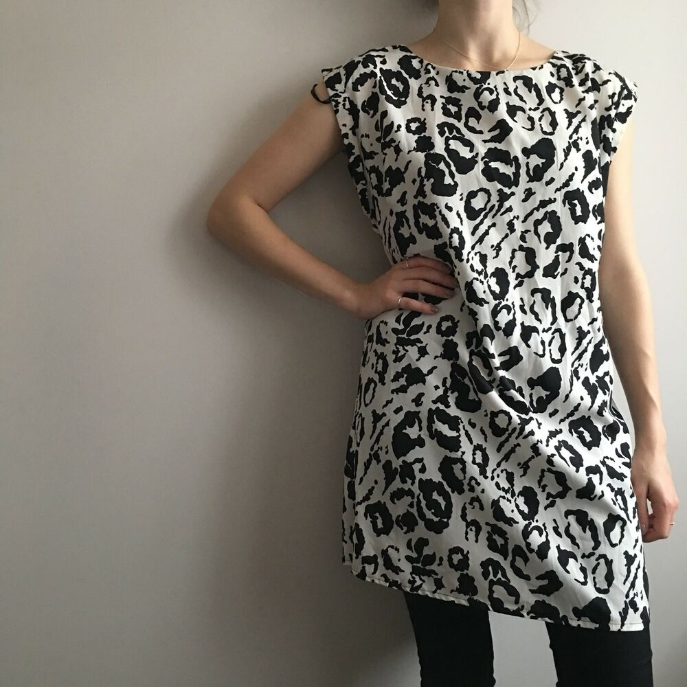 d4cae23a10 Details about New Look Black And White Leopard Animal Print Shift Dress On  Trend Size 12