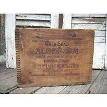 Antique ALCOFORM Embalming Fluid Bottle Chemical Wood Shipping Box Crate