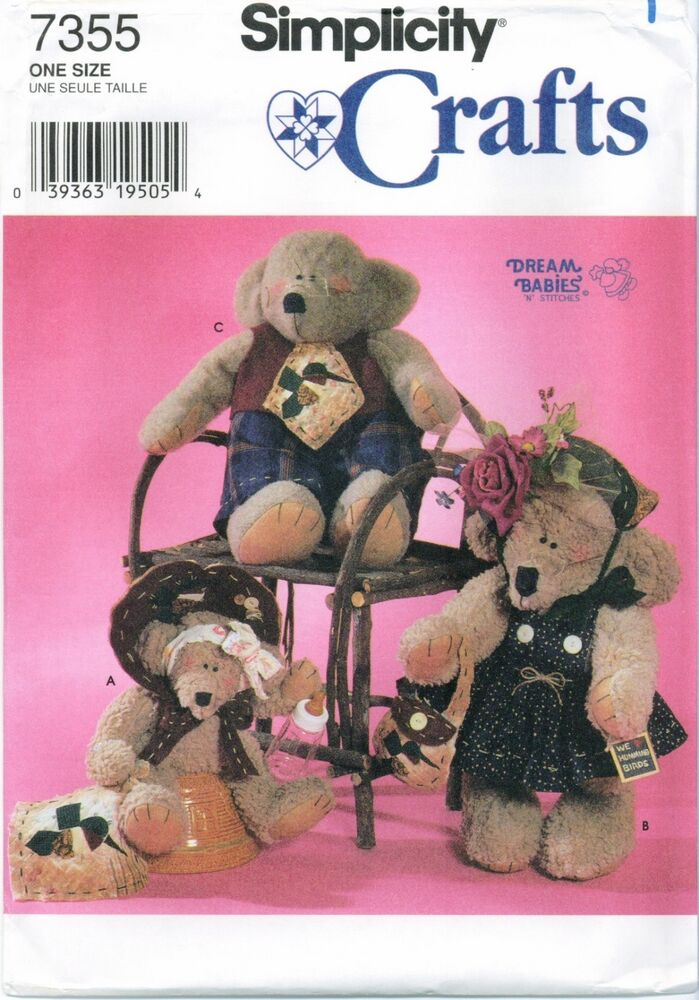 Simplicity 7355 Dream Babies Bears Clothes 14 - 22 inch Sewing