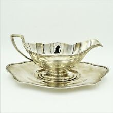 Gorham Art Deco Plymouth Sterling Silver Gravy Boat With Underplate Set 358g