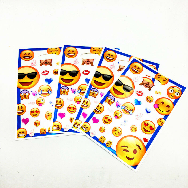 Details About Emoji Face Kids Happy Birthday Party Bags Loot Bag