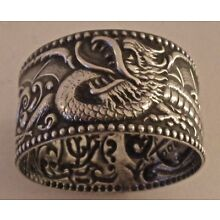AMERICAN NOUVEAU STERLING ST. LOUIS EXPOSITION? WINGED DRAGON NAPKIN RING 1900