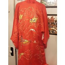 Vintage 1950s Japanese Red Gold Silk Dragon Hand Embroidered Kimono