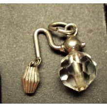 Vtg Sterling Silver Bracelet Charm / Glass Bead ~ PERFUME ATOMIZER