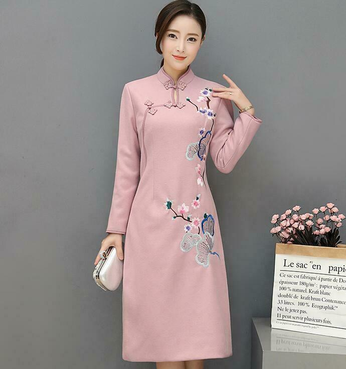 adfdbdb1b Details about Ethnic Womens Embroidery Long Sleeve Qipao Dress Party Ball  Gown Slim cheongsam