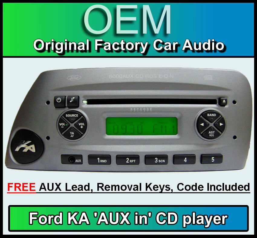 Details About Ford Ka Aux In Cd Player Silver Ka  Aux Car Stereo Radio Keys And Code