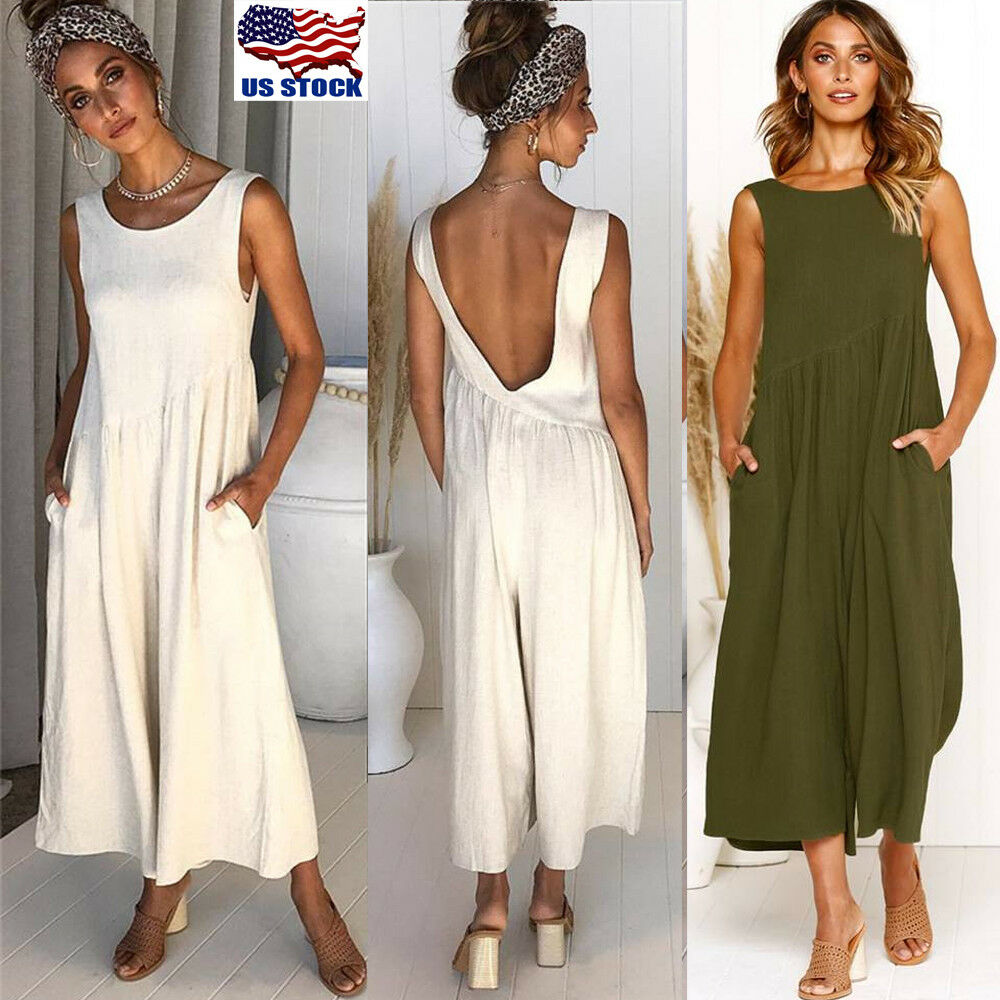 b726a59ff220 Details about Sexy Women Sleeveless Backless Wide Leg Pants Jumpsuit Romper  Playsuit Clubwear