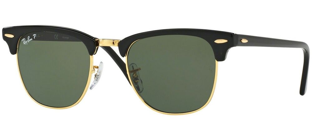 4f0283e409 Details about New   Authentic Ray Ban RB3016 901 Clubmaster Black Square  Sunglasses
