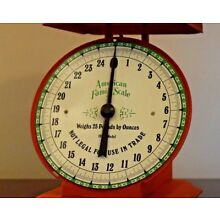 American family scale vintage  weighs 25 lbs by ounces
