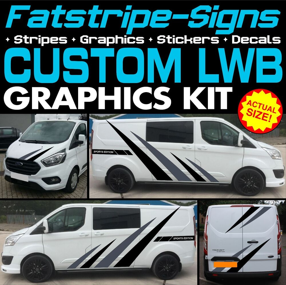 Details about ford transit custom lwb graphics stickers stripes decals st m sport 2 2 day van