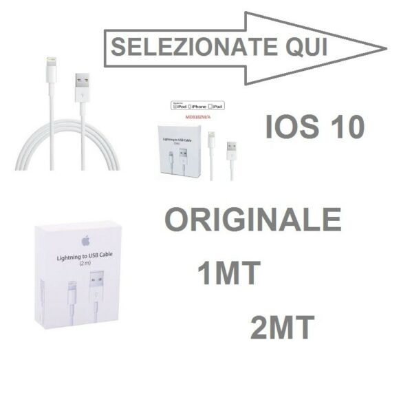 CAVO DATI USB IPHONE 5 5S 5C 6 6 7 8 X PLUS CAVETTO RICARICA LIGHTNING ORIGINALE