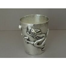 Antique Chinese or Chinese Export Solid Silver Hammered Dragon Cup Beaker 53 Gms