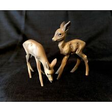 Vintage Hand Carved 2 Wooden Deer Germany Small Nativity Fawn Doe Anri? Aprx 3