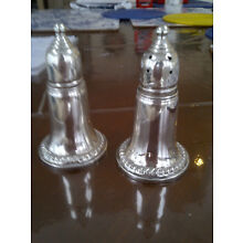 Empire Sterling Silver Salt & Pepper Shakers Glass Lined Weighted