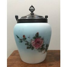 Porcelain BISCUIT JAR w/ Silverplate Handle & Lid- Blue Floral Rose