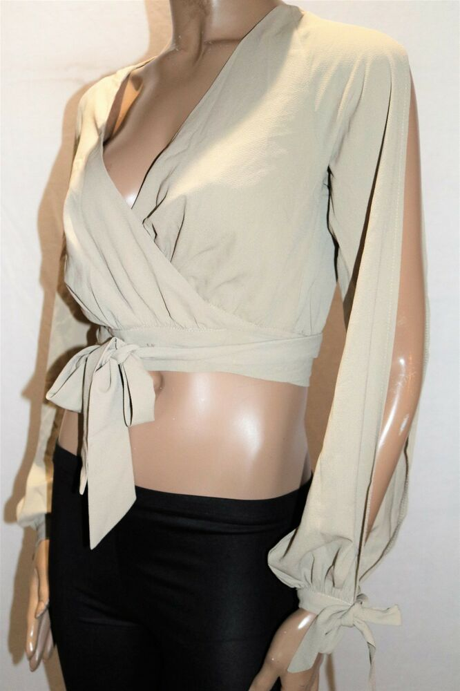 582ff23852f04 Details about WHO I AM Brand Beige Long Sleeve Crop Wrap Around Top Size 8  BNWT  TN78