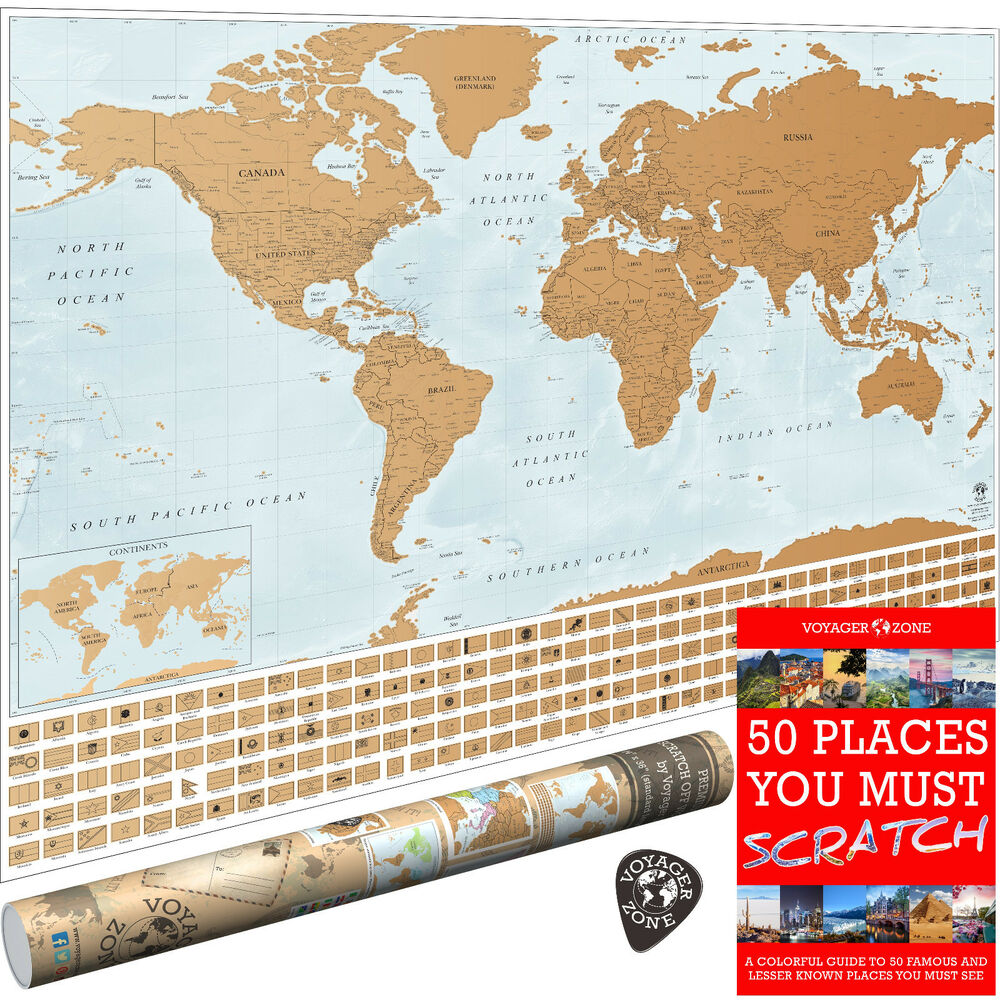 Scratch Off World Map by Voyager Zone - 24x36 Large Wall Poster ...
