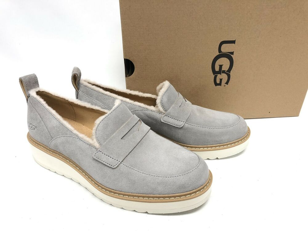 603067f3b76 Details about Ugg Australia Atwater Spill Seam Loafer Womens 1095231 Seal  Grey Chunky Platform