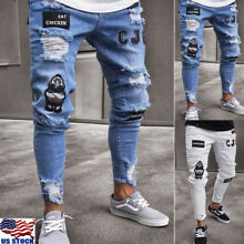 Men's Destroyed Ripped Distressed Slim Denim Pants Skinny Frayed Jeans Trousers