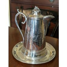 Antique Silverplate Molasses Syrup Pitcher & Fitted Tray Engraved Victorian