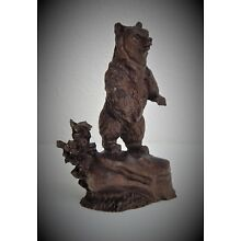 MINIATURE GRIZZLY BEAR WALNUT WOOD CARVING SCULPTURE BY JOAN KOSEL