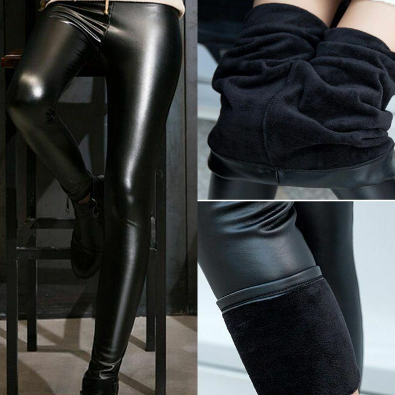 699bd1e5c2fd7 Details about Women Winter Thick Warm Leather Leggings Stretch Skinny Pants  Trousers Footless